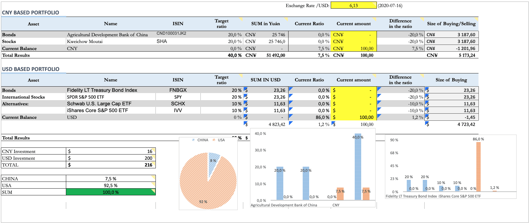 excel investment template
